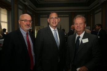 Left to right: Pierre Ferrari (Heifer Int'l), Sen. John Boozman (R-AR), Tony Hall (Alliance). (Photo: Donna Stokes/Heifer International)