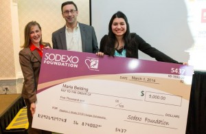 Maria Belding receives her scholarship at the Alliance's Hunger Free Communities Summit. (courtesy, Sodexo Foundation)