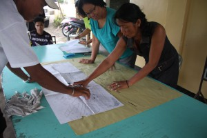 A team in The Philippines work on their community's Disaster Risk Reduction plans. (Courtesy: Episcopal Relief & Development)