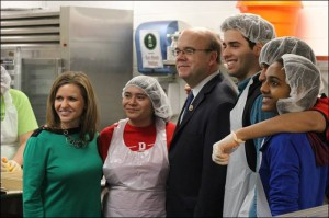 Representatives Lynn Jenkins (left) and Jim McGovern (center) visit DC Central Kitchen. Courtesy: Rabbi Joseph Krakoff/The Bottle Crew.