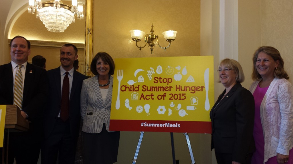 Stop Child Summer Hunger Act of 2015 introduction ceremony.  Left to right: Duke Storen- Share Our Strength, Robert Campbell- Feeding America, Rep. Susan Davis (D-CA), Sen. Patty Murray (D-WA), Ellen Teller-FRAC.
