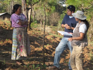 Luis Cabrera, 6th class fellow placed with the World Food Program, interviews a farmer about her food security near Quiche, Guatemala. Courtesy: Congressional Hunger Center