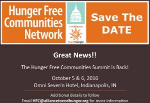 SAVE THE DATE: 2016 Hunger Free Communities Summit @ Omni Severin Hotel | Indianapolis | Indiana | United States