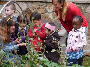 Meighen Lovelace (left) works with a group of children at the Salvation Army Vail community farm.